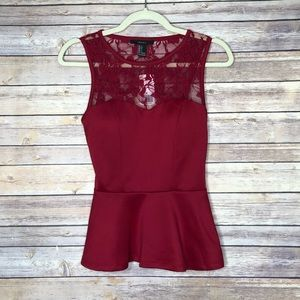 Forever 21 Red sleeveless lace trim top S